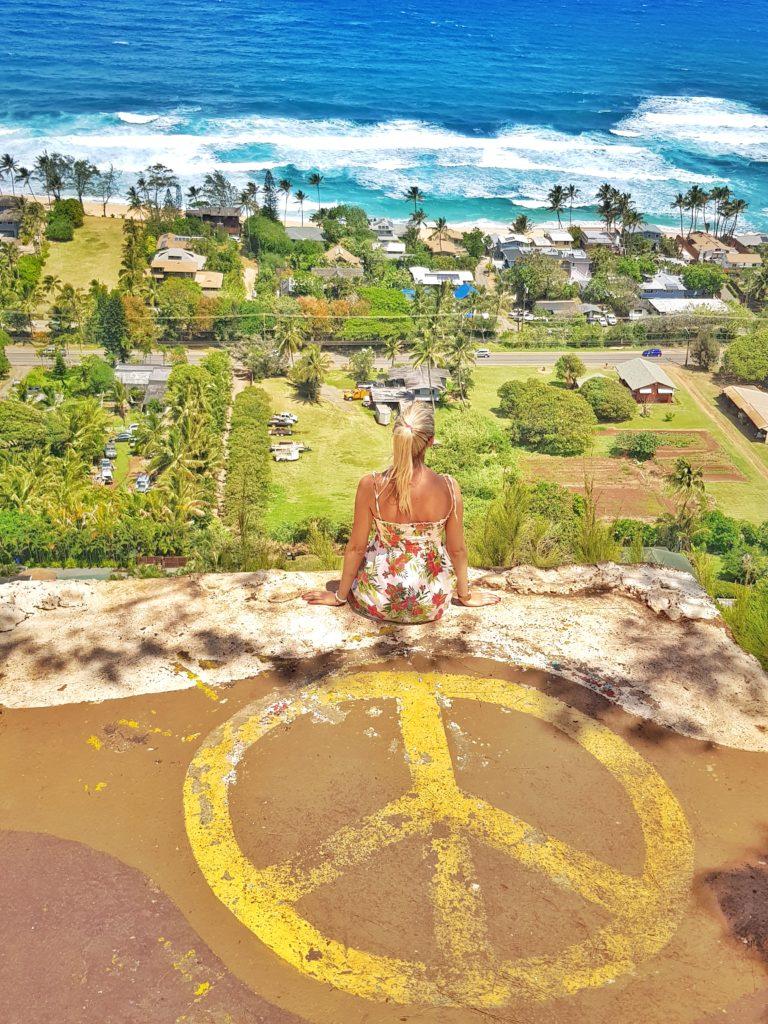 Insel, Oahu, Hawaii, Wandern auf Hawaii, Ehukai Pillbox Hike, North Shore Hike