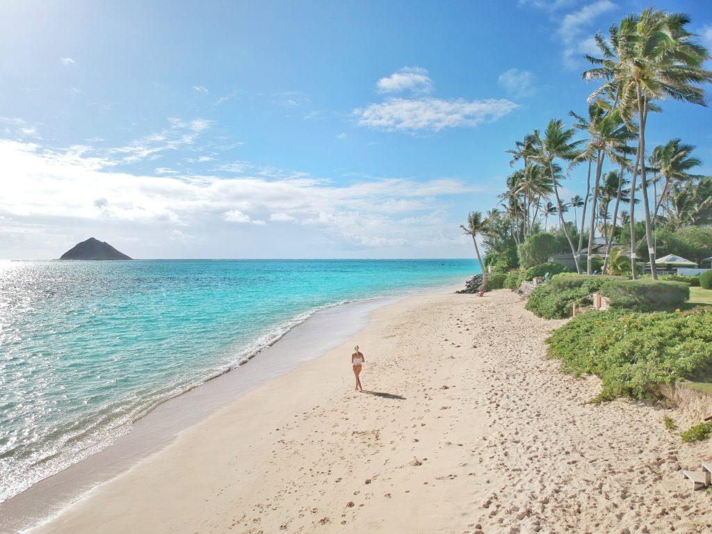 Lanikai Beach, Oahu, Hawaii, Kailua, Drohnenfoto, Strand