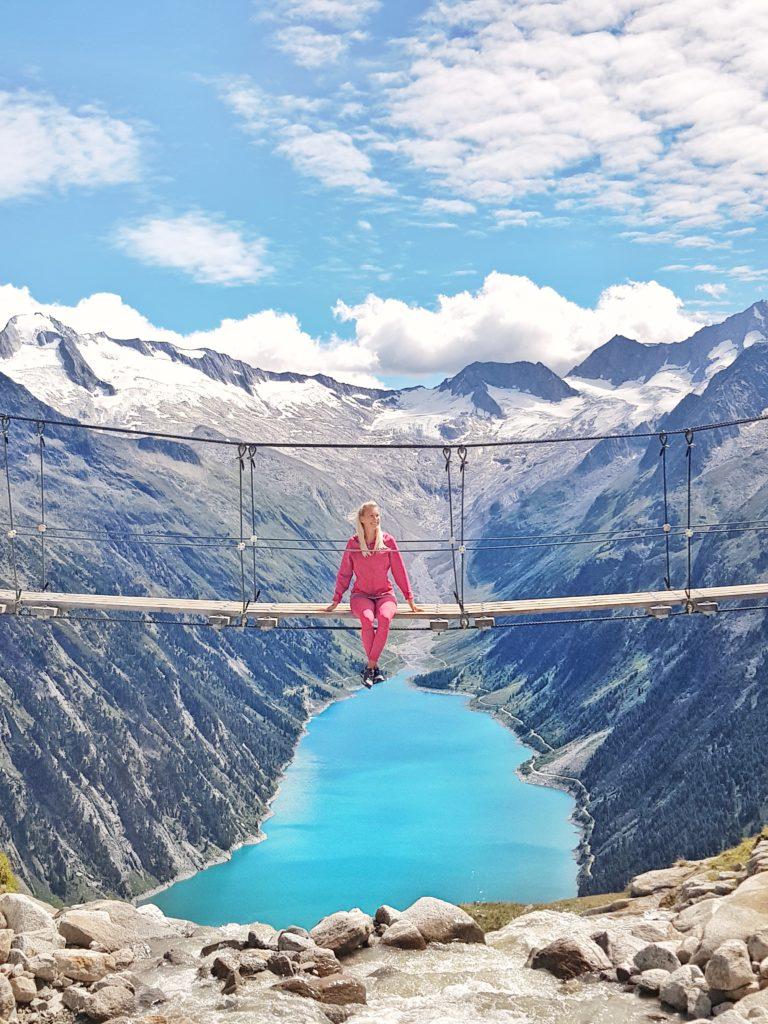 Zillertal, Olperer Hütte, Wanderung, Österreich, Tirol, Zillertaler Alpen, Schlegeis Speicher, Schlegeis Stausee, Panoramabrücke, Kebema Panoramabrücke