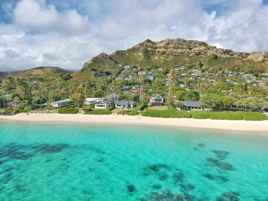 Insel, Oahu, Hawaii, Drohnenfoto, Lanikai Beach