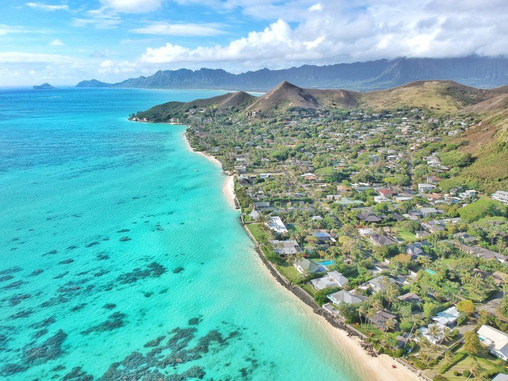 Aloha, Hawaii, Oahu, Lanikai Beach, Strand, Drohnenfoto